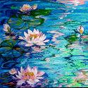 MISTY WATER WATERLILIES by M BALDWIN (thumbnail)