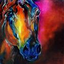 ALLURE ARABIAN ABSTRACT HORSE EQUINE ART ORIGINAL OIL PAINTING by MARCIA BALDWIN (thumbnail)
