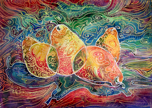 4 PEAR BATIK ~ ORIGINAL on CANVAS (large view)
