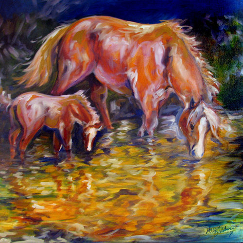 MARE & COLT FIRST POND (large view)