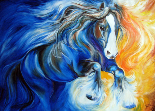 ZORRO the GYPSY VANNER COMMISSIONED ORIGINAL OIL PAINTING by ARTIST MARCIA BALDWIN (large view)