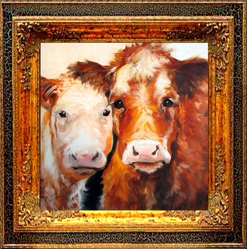 BABY FACE & MOM ~ COW ART by M BALDWIN (large view)