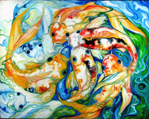 SEVEN KOI by M BALDWIN (large view)