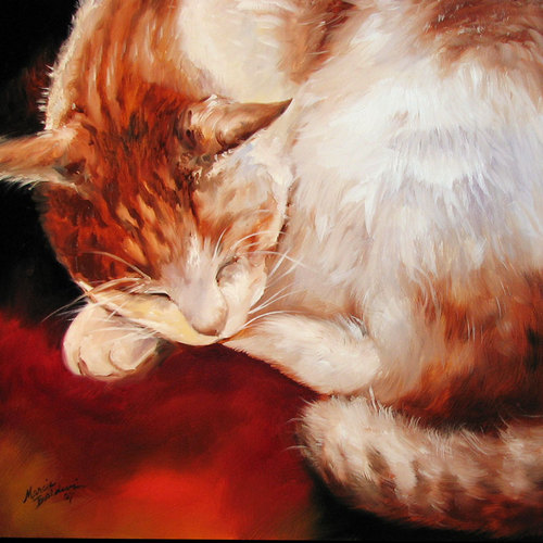 SLEEPING KITTY BEAUTY by M BALDWIN (large view)