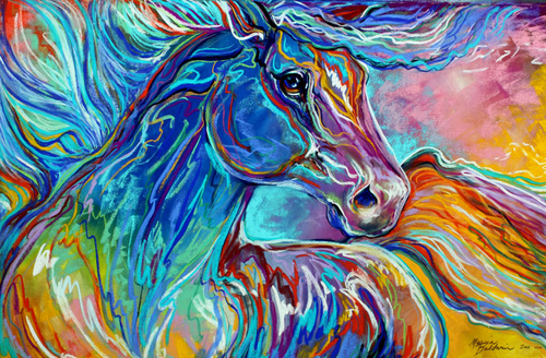PAINTED PONY ABSTRACT in PASTEL (large view)