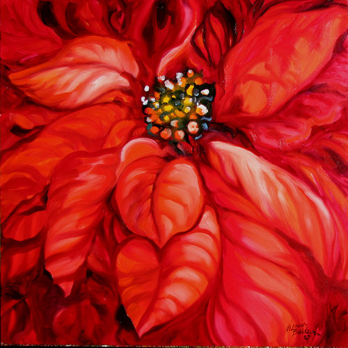 Painting--Oil-BotanicalCHRISTMAS POINSETTIA by M BALDWIN