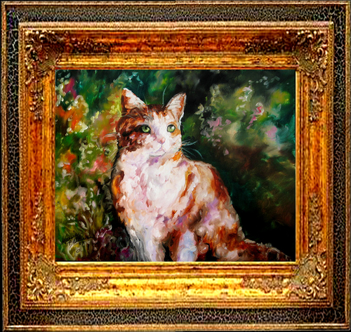 CALICO KITTY & FLOWERS by M BALDWIN (large view)