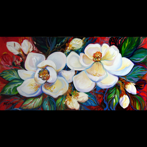 TWO MAGNOLIAS on RED by M BALDWIN (large view)