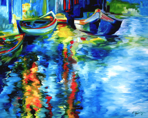 VENICE IN BLUE ~ AN ORIGINAL OIL by M BA