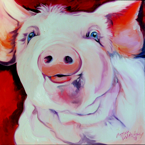 Painting--Oil-AnimalsMOLLY ~ the PINK PIG