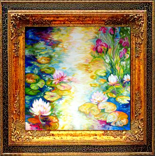 Painting--Oil-FloralIRIS & WATERLILIES by M BALDWIN