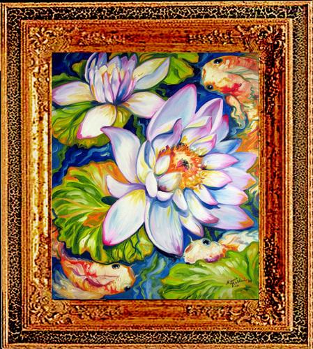 Painting--Oil-BotanicalWATERLILIES & KOI 2420