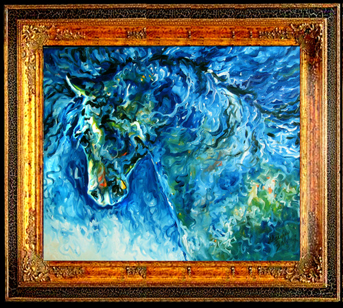 ABSTRACT HORSE in BLUE (large view)