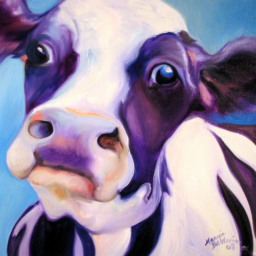 Painting--Oil-AnimalsFUNNY COW BLUE