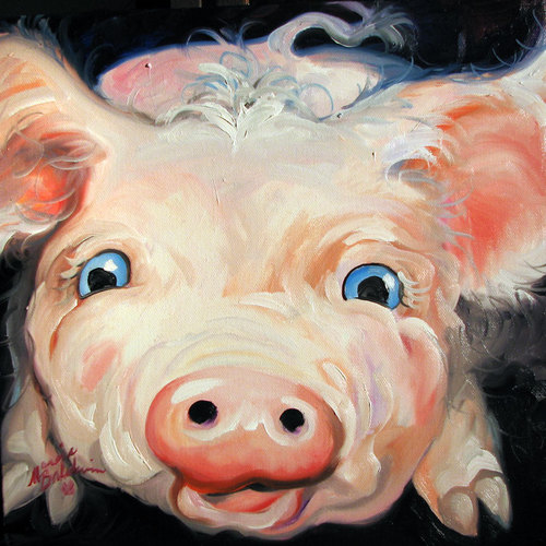 Painting--Oil-AnimalsPINK PIG DOTTY