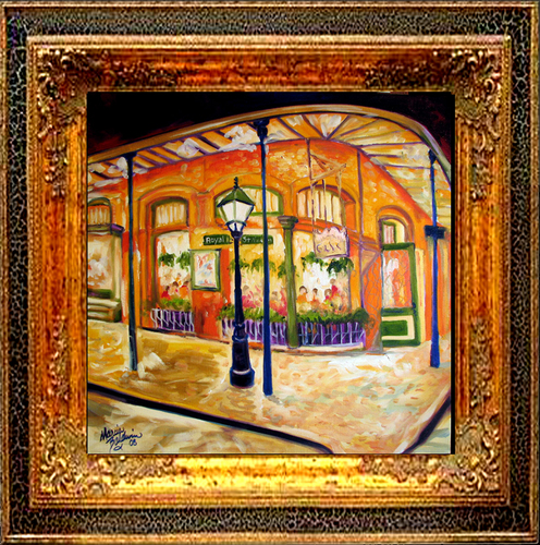 Painting--Oil-CityscapeFRENCH QUARTER CAFE on ROYAL ST.