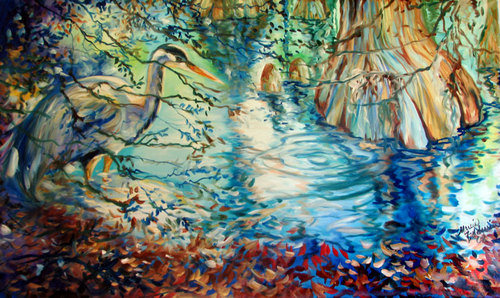 BLUE HERON & CYPRESS TREES (large view)
