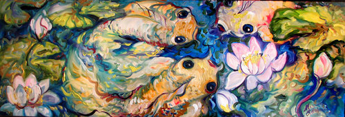THREE KOI PARTY ~ by M BALDWIN 36x12 OIL (thumbnail)