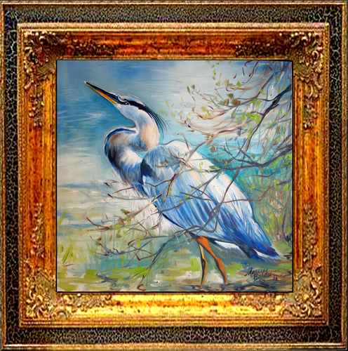 Painting--Oil-Animalsthe GREAT BLUE HERON 18