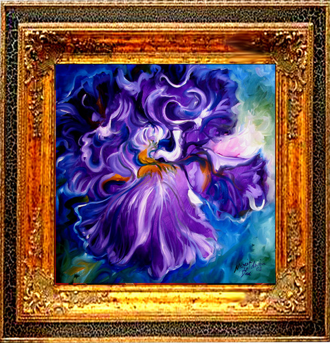 IRIS ABSTRACT ~ OIL ~ 20x20 (large view)