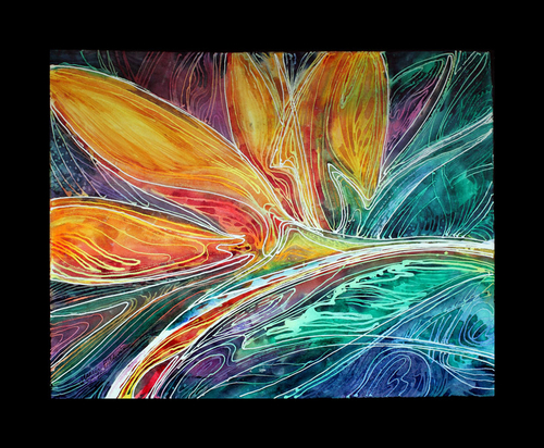 BIRD of PARADISE ABSTRACT ~ FINE ART BATIK on CANVAS by MARCIA BALDWIN (large view)