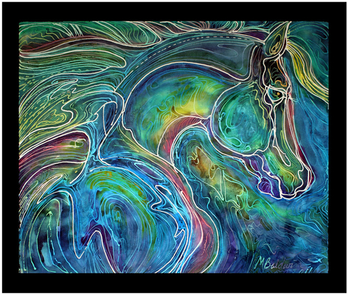 EMERALD EYE EQUINE ABSTRACT BATIK  (large view)