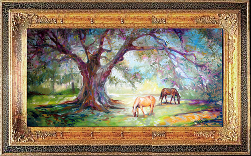 The Shady Oak Tree ~ Equine Original (large view)