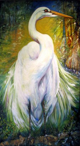 Painting--Oil-WildlifeGREAT WHITE EGRET LOUISIANA WILDLIFE