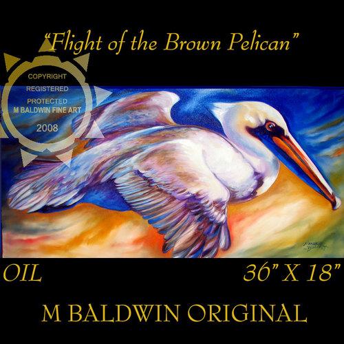 Painting--Oil-WildlifeFLIGHT of the BROWN PELICAN