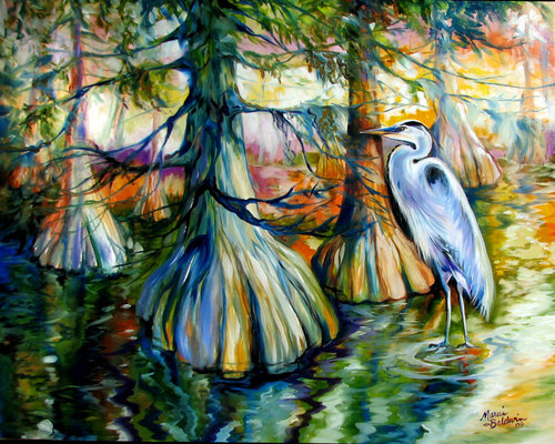 GREAT BLUE HERON & CYPRESS TREES (large view)