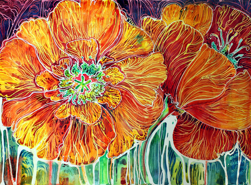 POPPIES BATIK FLORAL ABSTRACT (large view)
