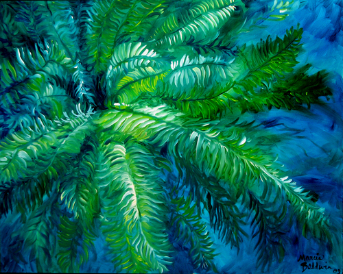 GREEN FERN ABSTRACT 30X24 ORIGINAL OIL (large view)