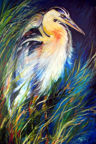 Painting--Oil-WildlifeBLUE HERON of LOUISIANA ~ OIL ~ 36x24 ~by M BALDWIN