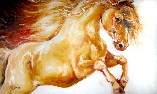 GOLD THUNDER ~ EQUINE ART ORIGINAL by M BALDWIN (large view)