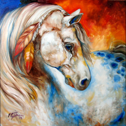 APPALOOSA WARRIOR ~ EQUINE ART by M BALDWIN (large view)