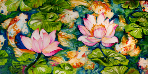 9 KOI & 2 LOTUS by M BALDWIN (thumbnail)