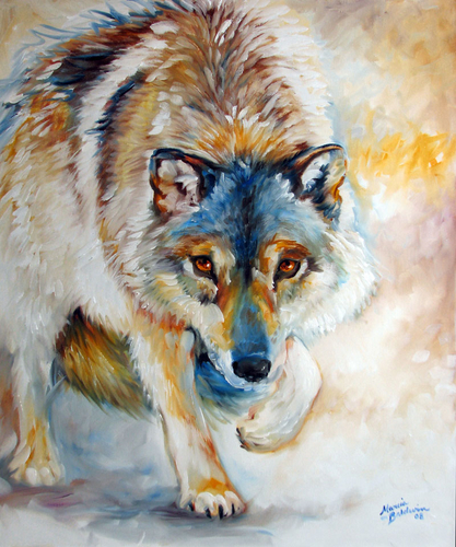 Painting--Oil-AnimalsLONE WOLF II by M BALDWIN