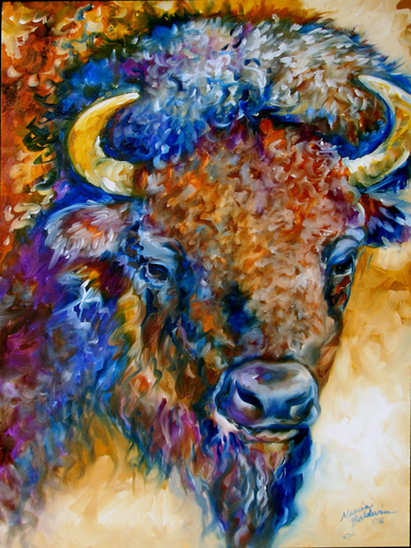 BUFFALO YELLOWSTONE ~ WILDLIFE ART by M BALDWIN (large view)