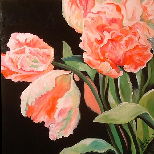 Painting--Oil-FloralParrot Tulips