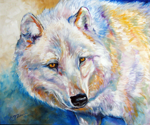 WHITE WOLF WINTER by M BALDWIN (large view)