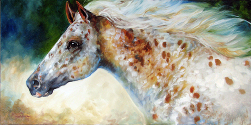APPALOOSA SPIRIT ~ 36x18 by M BALDWIN (thumbnail)
