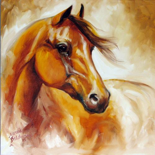 Painting--Oil-AnimalsEQUUS 2 by M BALDWIN ~ 18 X 18 ORIGINAL OIL