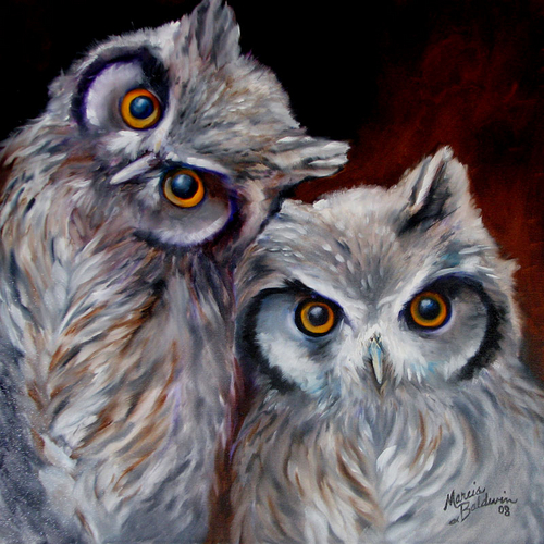 Painting--Oil-WildlifeOWLS by M BALDWIN ~ 20x20 ORIGINAL OIL