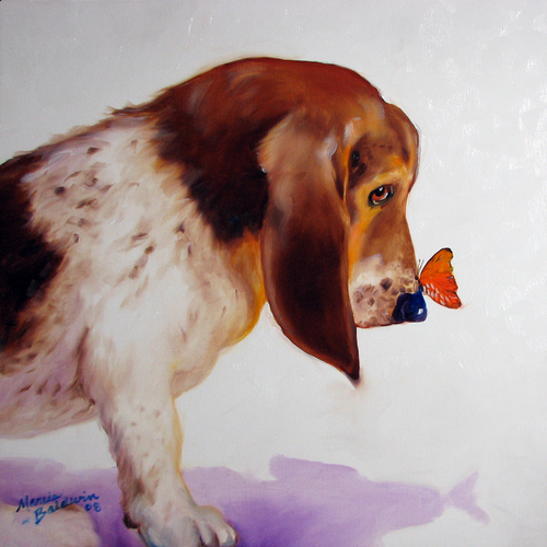 Painting--Oil-AnimalsBASSET & BUTTERFLY by M BALDWIN