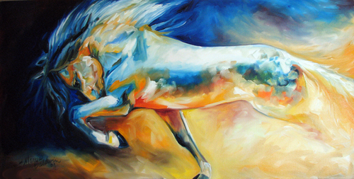 POWER EQUINE ART ABSTRACT ORIGINAL OIL by M BALDWIN (thumbnail)