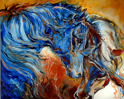 MUSTANG FRIENDS ~ EQUINE ABSTRACT by M BALDWIN (large view)