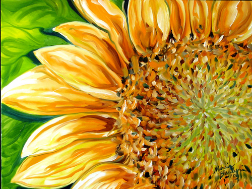 SUNNY DAY SUNFLOWER ~ 24X18 by M BALDWIN (large view)