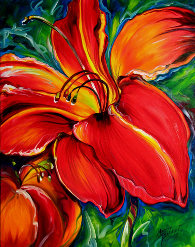 Painting--Oil-FloralBELOVED RED LILY by M BALDWIN