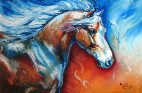 MIDNIGHTS RUN ~ EQUINE ORIGINAL by M BALDWIN (large view)