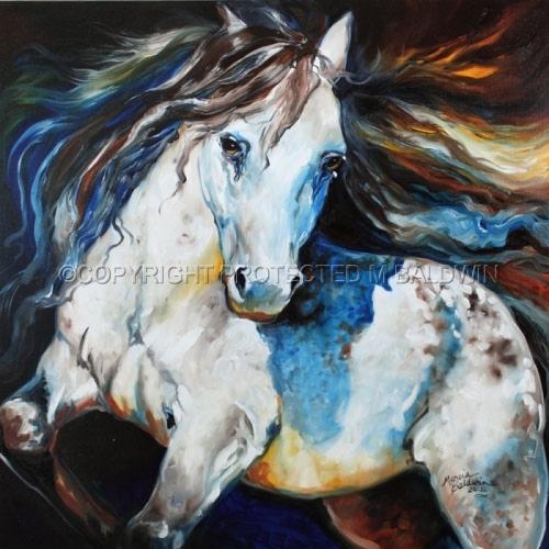 Painting--Oil-AnimalsMOONLIGHT APPPALOOSA